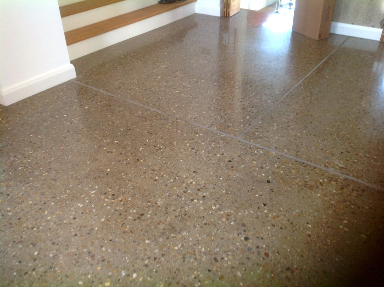 Polished concrete 360 solutions premier concrete surfaces for Stained polished concrete floor